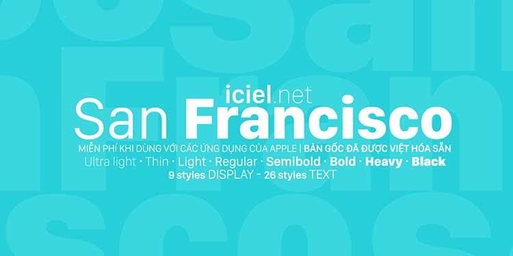 Font chữ San Francisco Việt hóa