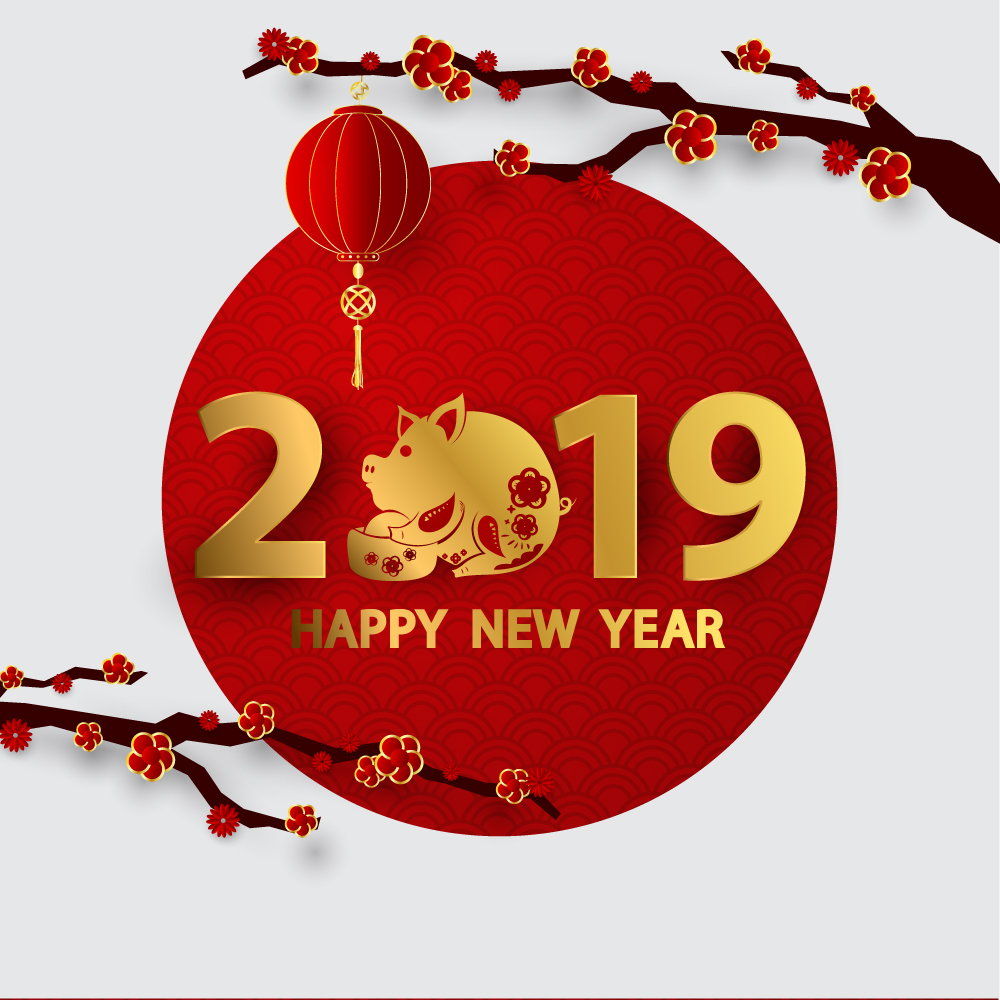 Free Download Banner, Vector Happy New Year 2019 đẹp nhất
