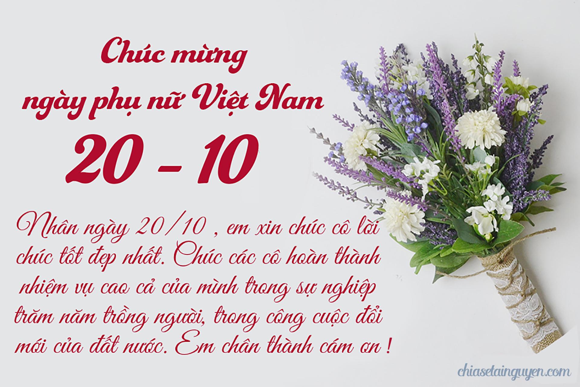 Bộ thiệp hoa mừng 20-10 kèm lời chúc cực dễ thương gửi đến cô