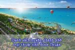 Danh sách huyện, thành phố trực thuộc tỉnh Bình Thuận 2020