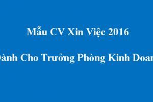 Mẫu CV xin việc dành cho Trưởng Phòng kinh doanh