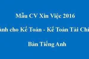 Tải về mẫu CV xin việc Kế Toán - Kế Toán Tài Chính - Bản Tiếng Anh
