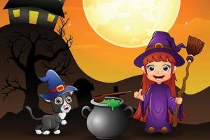 Vector halloween cô phù thủy nhỏ