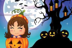 Chia sẻ vector Halloween bé gái bí ngô