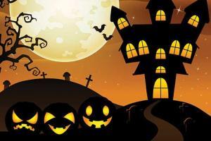 Mẫu banner halloween vector lâu dài rùng rợn