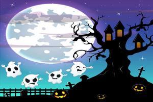 Vector cây ma đêm Halloween