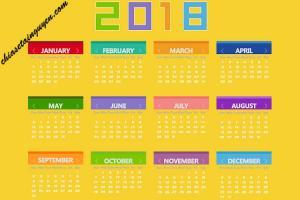 Tải miễn phí bộ clipart lịch năm 2018