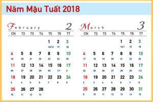 Chia sẻ  Bộ số  lịch Tết 2018  Mậu Tuất  (cả lịch âm)
