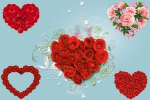Chia sẻ bộ clipart trái tim bằng hoa hồng cho các thiết kế về tình yêu