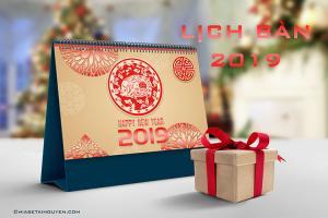 PSD lịch 2019 - Mẫu PSD thiết kế lịch bàn 2019 đẹp lung linh