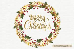 Vector vòng hoa trang trí giáng sinh Merry Christmas đẹp lung linh