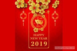 Banner, Vector tết 2019 - Vector heo vàng mừng năm mới Kỷ Hợi
