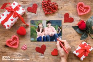 Chia sẻ PSD Mockup  Valentine, Mockup khung ảnh tình yêu