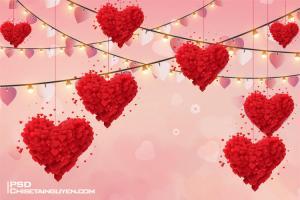 Free Download PSD phông nền trái tim tình Yêu
