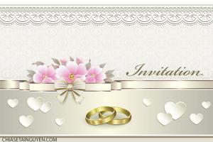 Download vector thiệp mời đám cưới sang trọng với nhẫn vàng
