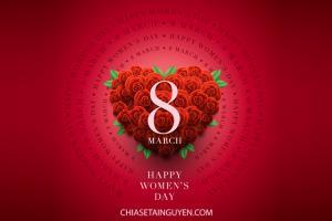 Free vector 8/3 hoa hồng đỏ đẹp, lãng mạn mừng Ngày quốc tế phụ nữ