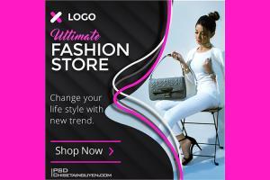 Free PSD banner template quảng cáo thời trang đẹp ấn tượng - Mẫu 01