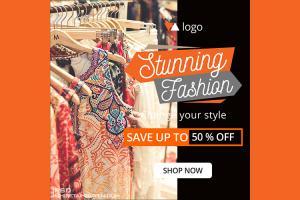 Free PSD banner template quảng cáo thời trang đẹp ấn tượng - Mẫu 06
