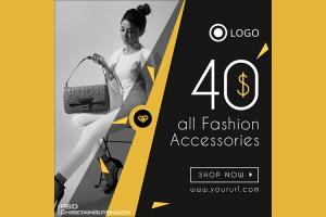 Free PSD banner template quảng cáo thời trang đẹp ấn tượng - Mẫu 08