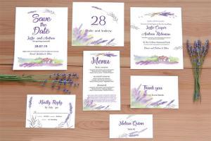 Free PSD thiệp cưới Lavender đẹp, hiện đại, mới nhất 2019