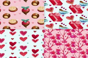 Download vector nền họa tiết tình yêu đẹp trang trí valentine
