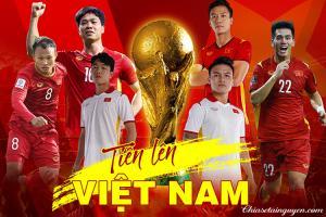 Banner cổ vũ bóng đá Việt Nam vượt qua vòng loại World Cup 2022