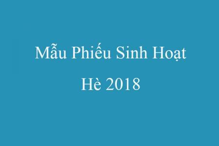 Mẫu Phiếu Sinh Hoạt Hè 2018 Mới Nhất