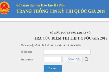 Cách tra cứu điểm thi THPT Quốc Gia 2018 cho thí sinh tại Hà Nội  nhanh nhất