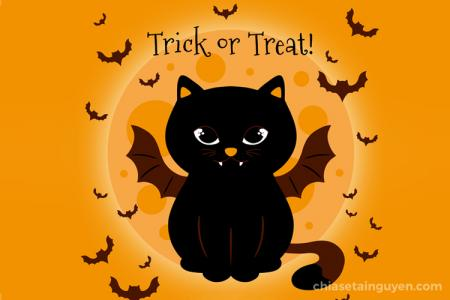 Chia sẻ Vector Halloween, hình nền Halloween mèo đen dễ thương nhất