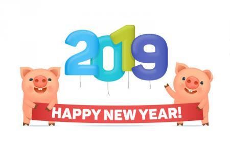 Chia sẻ file Vector heo tết 2019 - Happy New Year Pig Vector cực dễ thương