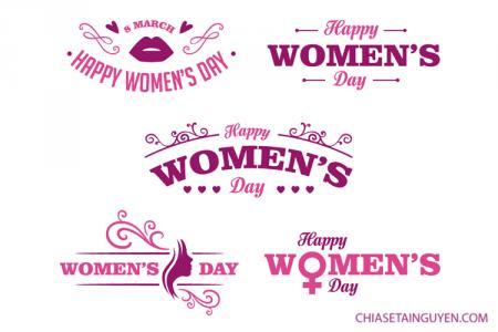 Miễn phí Vector chữ Happy Womens Day đẹp