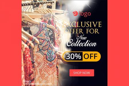 Free PSD banner template quảng cáo thời trang đẹp ấn tượng - Mẫu 03