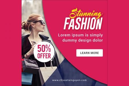 Free PSD banner template quảng cáo thời trang đẹp ấn tượng - Mẫu 04