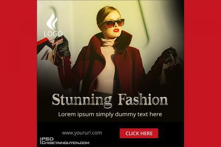 Free PSD banner template quảng cáo thời trang đẹp ấn tượng - Mẫu 10