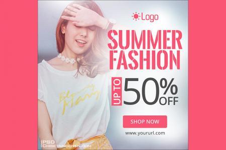 Free PSD banner quảng cáo thời trang xuân-hè đẹp rực rỡ nhất
