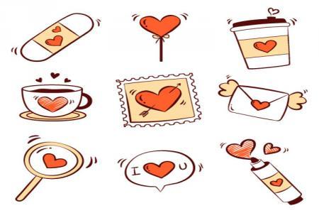 Free download vector trang trí valentine đẹp cho ngày lễ tình nhân 14/2