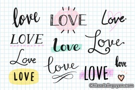Chia sẻ vector các mẫu chữ love tuyệt đẹp và độc đáo